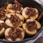 Skillet of baked apples and granola