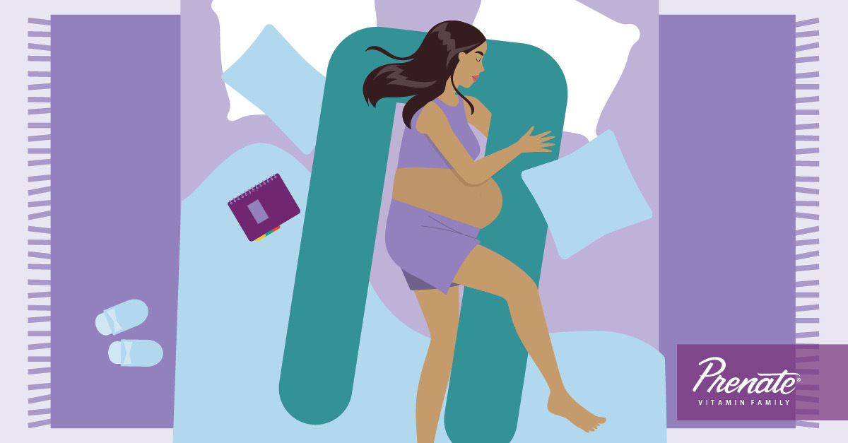 Pregnant woman cartoon laying in bed with body pillow